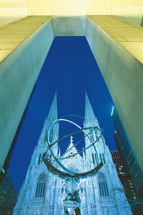 Atlas Statue, Designed and cast  by Lee Lawrie and Rene Chambellan,  Rockefeller Center and Saint Patrick's Cathedral in New York City, the largest decorated Gothic-style Catholic Cathedral in the United States