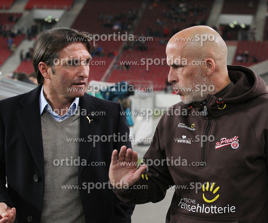 31.10.2012, Mercedes Benz Arena, Stuttgart, GER, DFB Pokal, VfB Stuttgart vs FC St.Pauli, 2. Runde, im Bild Bruno LABBADIA (VfB Stuttgart), links im Gespraech mit Michael FRONTZECK (FC St.Pauli) // during German DFP Pokal 2nd round match between VfB Stuttgart and FC St.Pauli at the Mercedes Benz Arena, Stuttgart, Germany on 2012/10/31. EXPA Pictures © 2012, PhotoCredit: EXPA/ Eibner/ Eckhard Eibner..***** ATTENTION - OUT OF GER *****