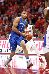 14 November 2016:  Bryson Scott(1) takes the ball towards the hoop guarded by Paris Lee(1) during an NCAA  mens basketball game between the Indiana Purdue Fort Wayne Mastodons the Illinois State Redbirds in Redbird Arena, Normal IL