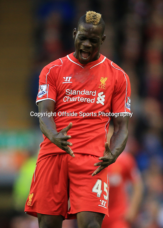 25th October 2014 - Barclays Premier League - Liverpool v Hull City - Mario Balotelli of Liverpool screams in annoyance - Photo: Simon Stacpoole / Offside.