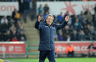 Crystal Palace Manager Neil Warnock makes his point.<br /> Barclays Premier league match, Swansea city v Crystal Palace at the Liberty stadium in Swansea, South Wales on Saturday 29th November 2014<br /> pic by Phil Rees, Andrew Orchard sports photography.