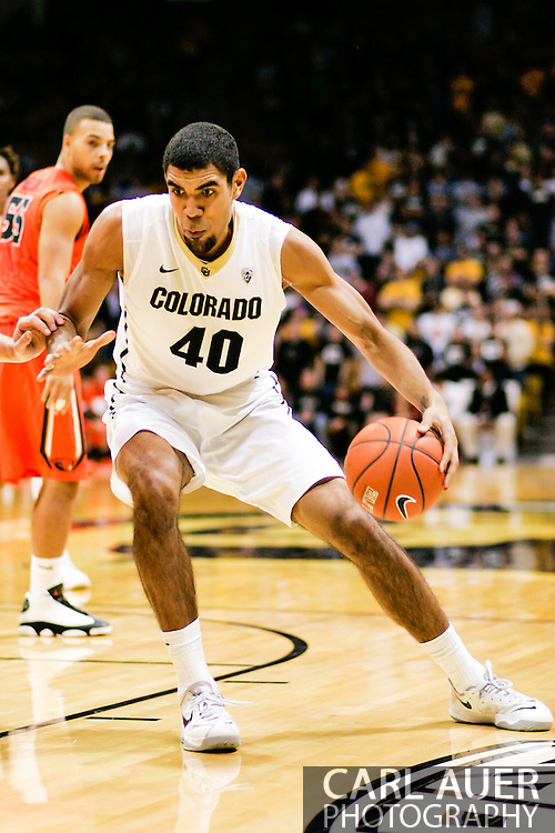 January 2nd, 2014:  Colorado Buffaloes sophomore forward Josh Scott (40) takes the ball towards the key in the second half of the NCAA Basketball game between the Oregon State Beavers and the University of Colorado Buffaloes at the Coors Events Center in Boulder, Colorado