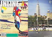 19998:  June Inline Skate Magazine,  NYC Chelsea Piers outdoor roller hockey rink with skyline.