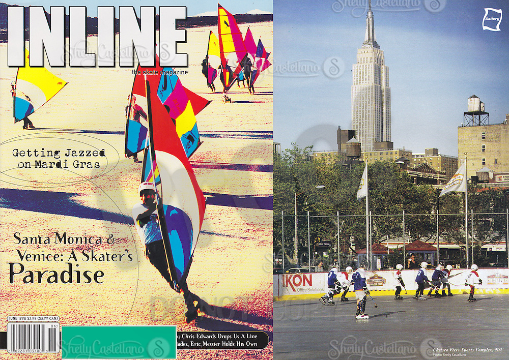 19998:  June Inline Skate Magazine,  NYC Chelsea Piers outdoor roller hockey rink with skyline.