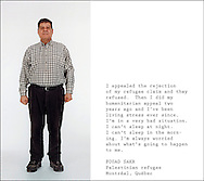 Palestinian refugee Fouad Sakr, photographed and interviewed in a studio at Concordia University. Montreal, 2005.