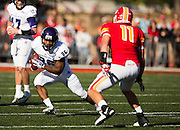 Charcandrick West (26) of the Abilene Christian Wildcats runs up the field during Saturday's college football game against the Pittsburg State Gorillas at Carnie Smith Stadium on October 5, 2013 in Pittsburg, Kansas. (David Welker)