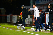 Stevenage's manager Darren Sarll shouts at his team from the sideline during the EFL Sky Bet League 2 match between Stevenage and Coventry City at the Lamex Stadium, Stevenage, England on 21 November 2017. Photo by Matt Bristow.
