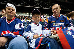 Fans from New Zealand with a Slovenian flag during ice-hockey match between Slovenia and Latvia of Group G in Relegation Round of IIHF 2011 World Championship Slovakia, on May 5, 2011 in Orange Arena, Bratislava, Slovakia. Slovenia defeated Latvia 5-2. (Photo By Vid Ponikvar / Sportida.com)