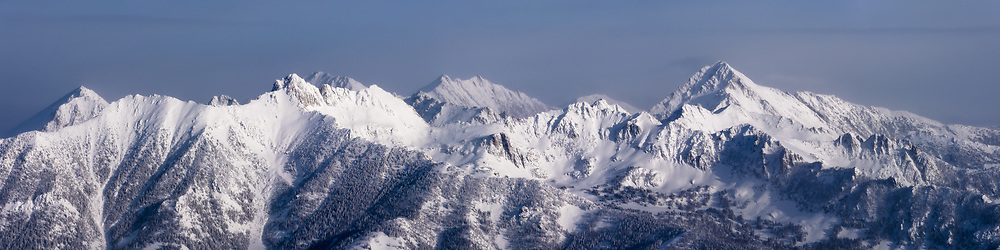 Panoramic veiw of the Spanish peaks in the winter in Big Sky, Montana . Limited Edition - 75