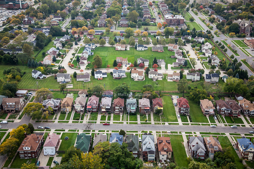 Low-density suburban housing contrast to older city row-houses