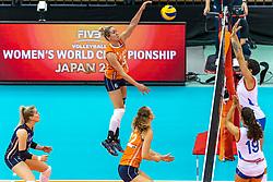 07-10-2018 JPN: World Championship Volleyball Women day 8, Nagoya<br /> Netherlands - Puerto Rico 3-0 / Maret Balkestein-Grothues #6 of Netherlands, Kirsten Knip #1 of Netherlands, Nicole Koolhaas #22 of Netherlands