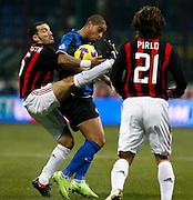 "Gianluca Zambrotta (Milan), Adriano (Inter), Andrea Pirlo (Milan).Milano 15/2/2009 Stadio ""Giuseppe Meazza"".Campionato Italiano Serie A.Inter Milan."