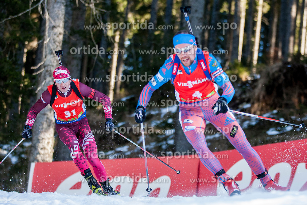 Andrejs Rastorgujevs (LAT) and Alexey Slepov (RUS) competes during Men 12,5 km Pursuit at day 3 of IBU Biathlon World Cup 2015/16 Pokljuka, on December 19, 2015 in Rudno polje, Pokljuka, Slovenia. Photo by Urban Urbanc / Sportida