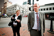 Norwegian lawyers Geir Lippestad and Vibeke Hein Bæra in San Diego to research the early life of Anders Behring Breivik. Lippestad was appointed as defence councel for Breivik in the trial following the July 22 massacre where Breivik assassinated 77 people in Oslo and Utøya.