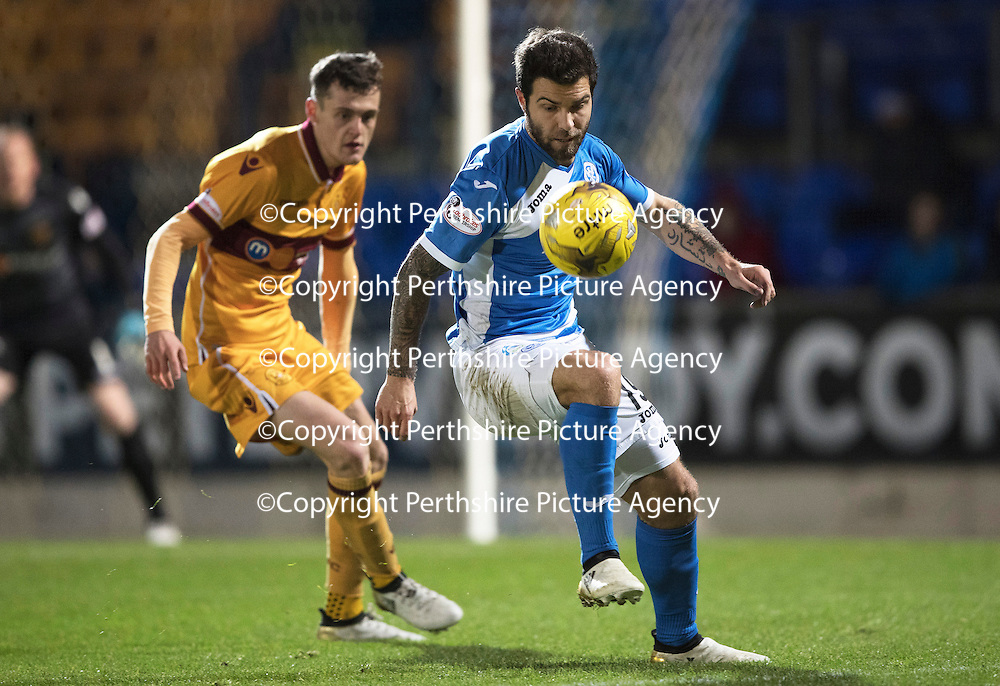 St Johnstone v Motherwell&Ouml;17.12.16     McDiarmid Park    SPFL<br /> Richie Foster and Jack McMillan<br /> Picture by Graeme Hart.<br /> Copyright Perthshire Picture Agency<br /> Tel: 01738 623350  Mobile: 07990 594431