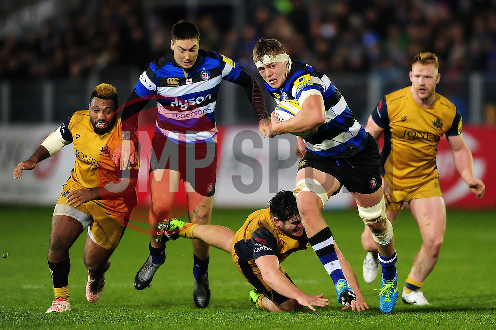 Tom Ellis of Bath Rugby takes on the Bristol Rugby defence - Mandatory byline: Patrick Khachfe/JMP - 07966 386802 - 18/11/2016 - RUGBY UNION - The Recreation Ground - Bath, England - Bath Rugby v Bristol Rugby - Aviva Premiership.