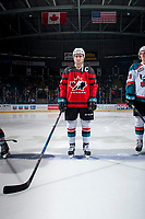 KELOWNA, CANADA - JANUARY 17: Dillon Dube #19 of the Kelowna Rockets stands at centre ice for the starting line up against the Lethbridge Hurricanes wearing his Team Canada World Jr. Championship jersey on January 17, 2017 at Prospera Place in Kelowna, British Columbia, Canada.  (Photo by Marissa Baecker/Shoot the Breeze)  *** Local Caption ***