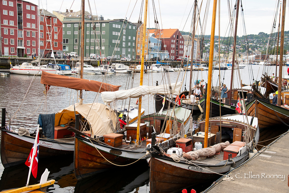 Wooden sailboats at the old boat festival in Tronheim, Trondelag, Norway