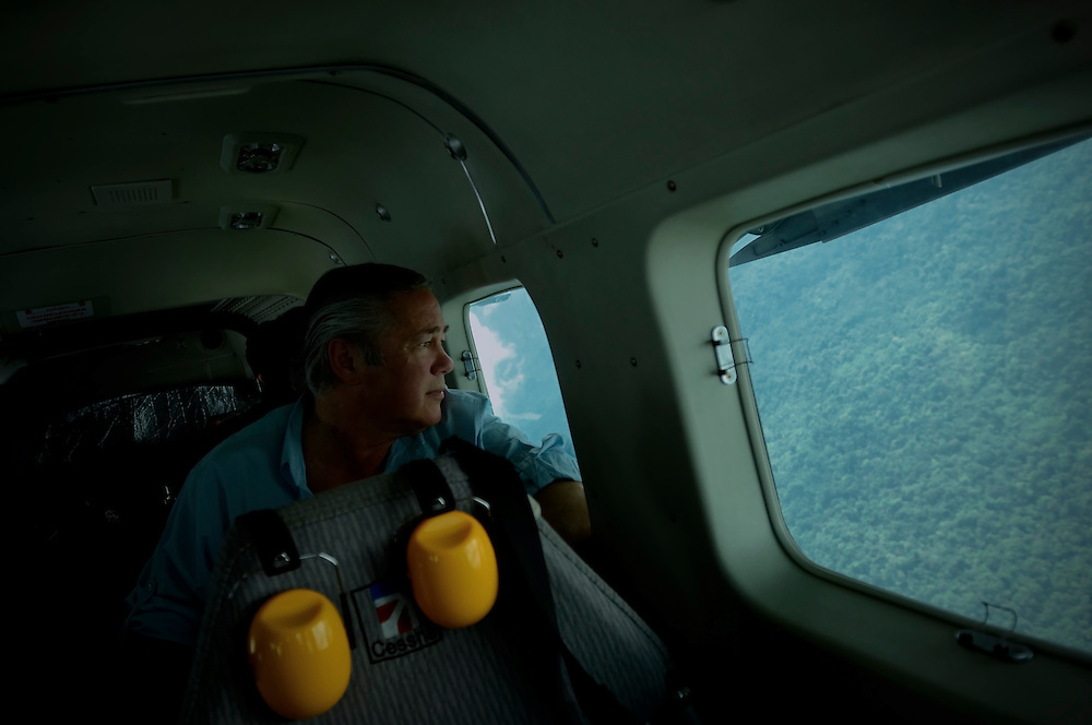 Gordon Radley, 64, flies over the jungle in Chocó, on the northern pacific coast of Colombia. His brother Lawrence died attempting to fly over the same jungle, from Bahía Solano to Quibdó,  in the early 1960's when he was living in Colombia serving in the Peace Corps. Gordon Radley promised that he would someday retrace the last steps of his brother, and to complete the journey from Bahía Solano to Quibdó that his brother died trying to make.