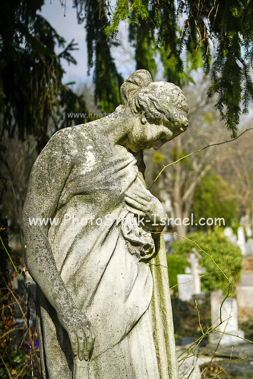 Statue of a grieving woman in a cemetery