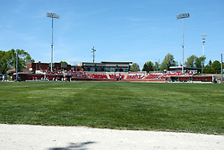18 April 2010: Duffy Bass Field through a hole in the fence in center field.  Southern Illinois Salukis and the Illinois State Redbirds face off on Duffy Bass Field on the campus of Illinois State University in Normal Illinois.
