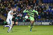 Forest Green Rovers Shamir Mullings(18) controls the ball during the Vanarama National League match between Tranmere Rovers and Forest Green Rovers at Prenton Park, Birkenhead, England on 11 April 2017. Photo by Shane Healey.