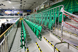 Safety wall for the fans behind RBS bench at Press conference after Red Bull Salzburg left Ljubljana and game four of quarter final was not played, HDD Tilia Olimpija won 5:0 without a match, on March 13, 2011 at Hala Tivoli, Ljubljana, Slovenia. (Photo By Matic Klansek Velej / Sportida.com)