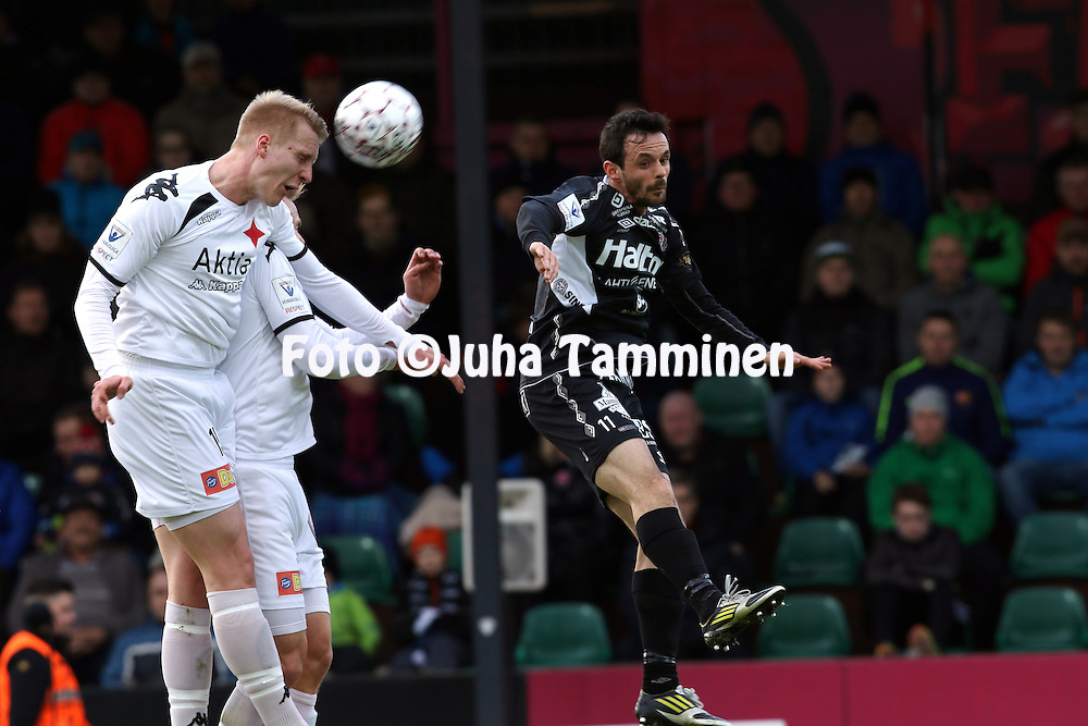 18.4.2016, Kisapuisto, Lahti.<br /> Veikkausliiga 2016.<br /> FC Lahti - Helsingfors IFK.<br /> Juho Pirttijoki &amp; Pauli Kuusij&auml;rvi (HIFK) v Drilon Shala (FC Lahti).