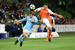 October 6, 2017 - Melbourne, Victoria, Australia - NICK FITZGERALD (7) of Melbourne City and JADE NORTH (13) of Brisbane fight for the ball in the round one match of the A-League between Melbourne City and Brisbane Roar at AAMI Park, Melbourne, Australia. Melbourne won 2-0 (Credit Image: © Sydney Low via ZUMA Wire)