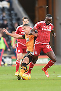 Albert Adomah of Middlesbrough FC and Jake Livermore of Hull City fight for ballduring the Sky Bet Championship match between Hull City and Middlesbrough at the KC Stadium, Kingston upon Hull, England on 7 November 2015. Photo by Ian Lyall.