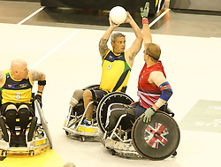 The UK and Australia fought a tough battle in the semi final of the wheelchair rugby semi final at the 2017 Invictus Games Toronto<br /><br />28 September 2017.<br /><br />Please byline: Vantagenews.com