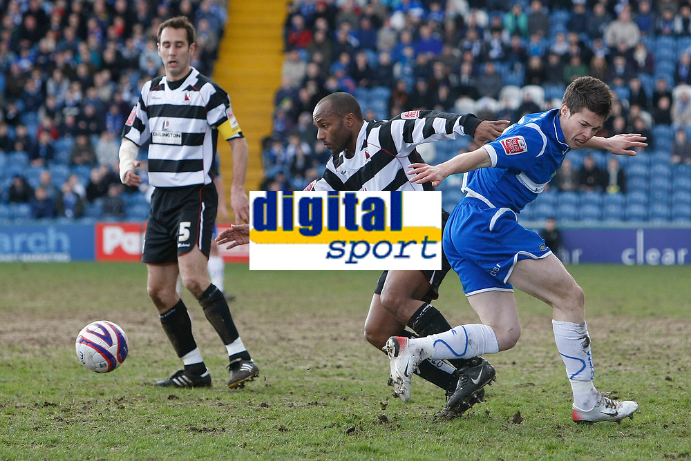 Photo: Matt Bright/Richard Lane Photography. <br />Stockport County v Darlington. Coca Cola Divison Two. 05/04/2008. Julian Joachim (C) comes away with the ball, robbing Tommy Rowe (R)