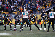 Jacksonville Jaguars defensive end Calais Campbell (93) gets set opposite the Pittsburgh Steelers offensive line during the NFL 2018 AFC Divisional playoff football game against the Pittsburgh Steelers, Sunday, Jan. 14, 2018 in Pittsburgh. The Jaguars won the game 45-42. (©Paul Anthony Spinelli)