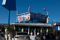 Exterior of Mad Greek Cafe, Baker, California, United States of America