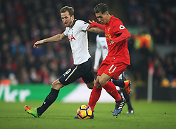 Harry Kane of Tottenham Hotspur (L) and Roberto Firmino of Liverpool in action - Mandatory by-line: Jack Phillips/JMP - 11/02/2017 - FOOTBALL - Anfield - Liverpool, England - Liverpool v Tottenham Hotspur - Premier League