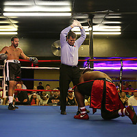 Alex Nicholson fights against Joseph White during the Mad Integrity Fight sports boxing match at the Florida Orange Event Center in Lakeland, Florida on Saturday October 10, 2015. Nichilson won the bout. Photo: Alex Menendez