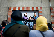 Young girls hold a banner and shout Islamic slogans in protest against the  Anti-Islam film 'Innocence of Muslims' that triggered violent protests all over the world. Antwerpen, Belgium, 2012