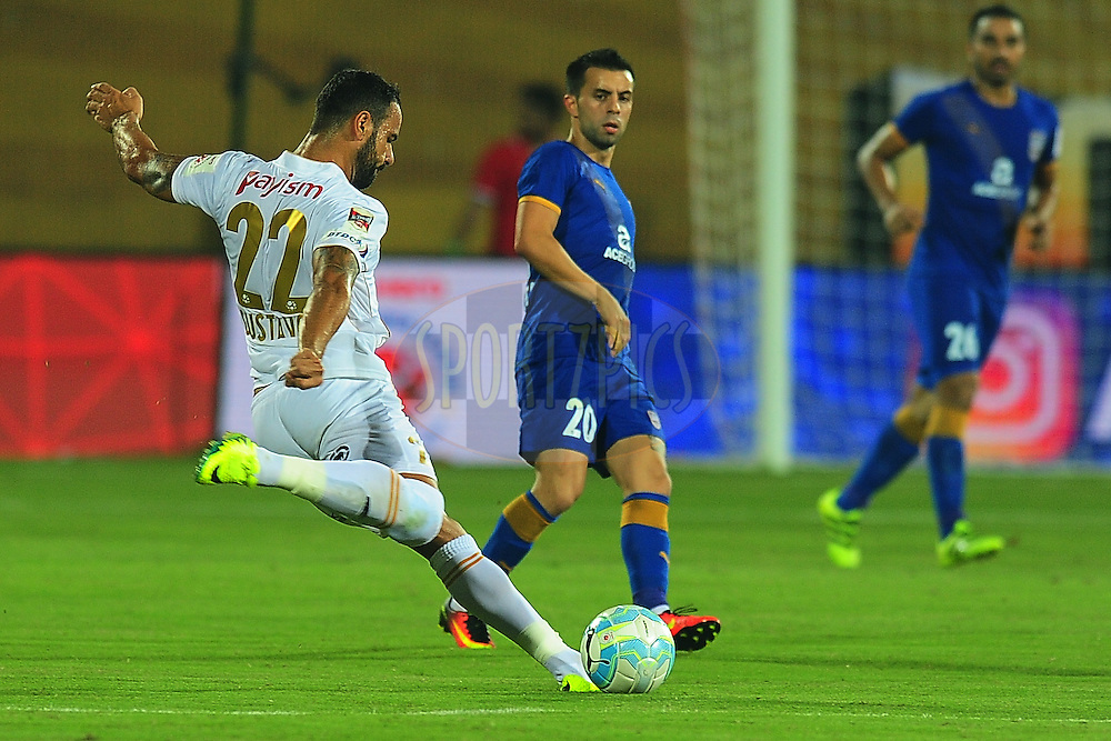 Gustavo Lazzaretti of NorthEast United FC during match 7 of the Indian Super League (ISL) season 3 between Mumbai City FC and NorthEast United FC held at the Mumbai Football Arena in Mumbai, India on the 7th October 2016.<br /> <br /> Photo by Faheem Hussain / ISL/ SPORTZPICS