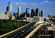 Philadelphia Skyline, Comcast Skyscraper (L), Mellon Center, Schuylkill Expressway, Night