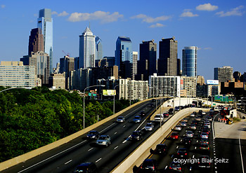 Philadelphia Skyline, Comcast Skyscraper (L), Mellon Center, Schuylkill Expressway, Night