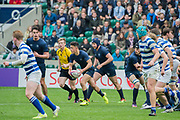 Warwick School won 27 -5. The Natwest Schools Cup Final between Bishops Wordsworth's Grammar School (Dark Blue) and Warwick School (Blue and white hoops) at Twickenham Stadium. London 29 March 2017. Warwick School won 27 -5. The Natwest Schools Cup Final between Bishops Wordsworth's Grammar School (Dark Blue) and Warwick School (Blue and white hoops) at Twickenham Stadium. London 29 March 2017.