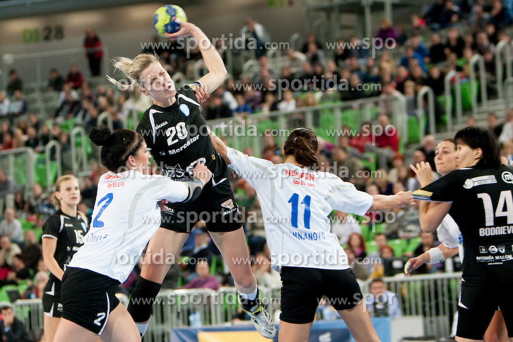 Susann Muller of RK Krim Mercaror during handball match between RK Krim Mercator and HC Podravka Vegeta (CRO) in 6th Round of Group B of EHF Women's Champions League 2012/13 on November 18, 2012 in Arena Stozice, Ljubljana, Slovenia. (Photo By Urban Urbanc / Sportida)
