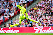 Chelsea goalkeeper Thibaut Courtois (13) celebrate Chelsea goal during the The FA Cup Final match between Arsenal and Chelsea at Wembley Stadium, London, England on 27 May 2017. Photo by Sebastian Frej.