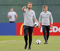 SAINT PETERSBURG, RUSSIA - JUNE 13: England national team head coach Gareth Southgate gestures during an England national team training session ahead of the FIFA World Cup 2018 in Russia at Stadium Spartak Zelenogorsk on June 13, 2018 in Saint Petersburg, Russia.