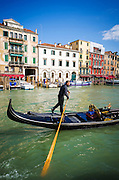 Gondola on the Grand Canal, Venice, Veneto, Italy