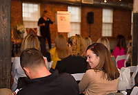 Robert and Carly Howie learn strategic business ideas from Emily Clement during the CEO Live workshop with JMG Marketing at Belknap Mill Friday morning.   (Karen Bobotas/for the Laconia Daily Sun)