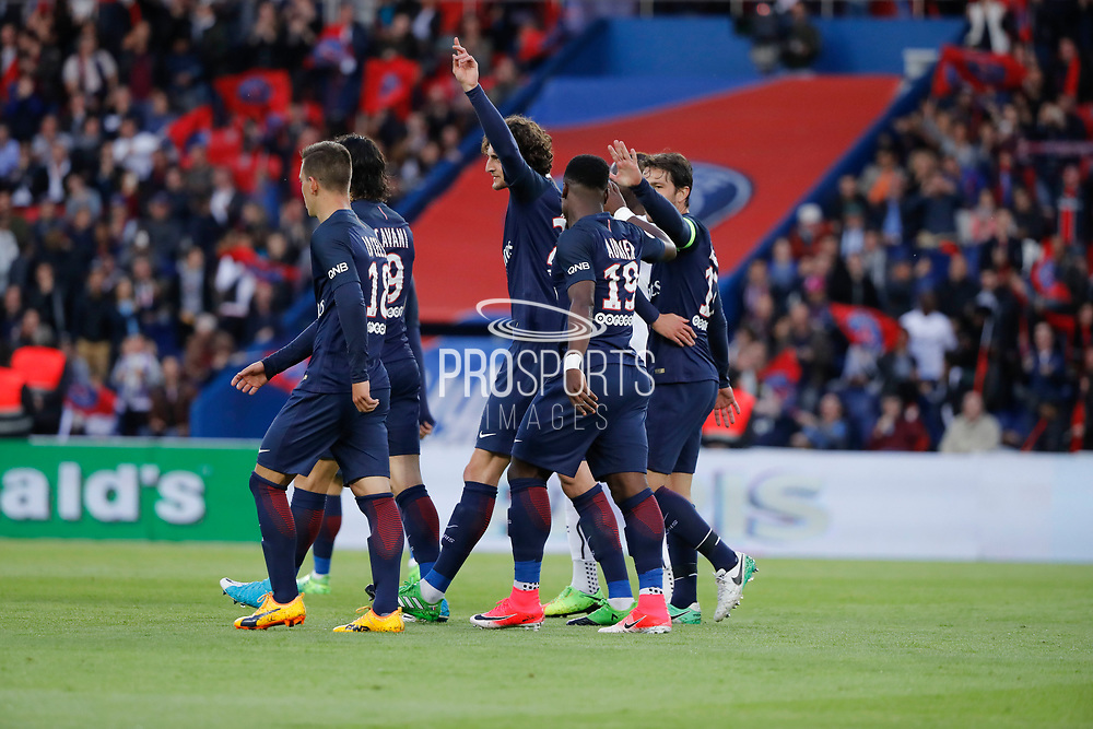 ADRIEN RABIOT (PSG) scored a goal and celebrated ith with Maxwell Scherrer Cabelino Andrade (psg), Serge Aurier (psg), Giovani Lo Celso (PSG), Edinson Roberto Paulo Cavani Gomez (psg) (El Matador) (El Botija) (Florestan), Angel Di Maria (psg) during the French Championship Ligue 1 football match between Paris Saint-Germain and SM Caen on May 20, 2017 at Parc des Princes stadium in Paris, France - Photo Stephane Allaman / ProSportsImages / DPPI