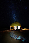 The Milky Way gradually comes into view in a crystal clear sky over our hut at the We Kabi Safari Lodge (Maltah&ouml;he) in central Nambia. The heat was intense even at night and although the thatched roof looked fantastic, the lack of fan and air conditioning made sleep almost impossible.<br />