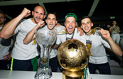 Aris Zarifovic of NK Olimpija, Branko Ilic of NK Olimpija, Nejc Vidmar of NK Olimpija and Nik Kapun of NK Olimpija Ljubljana celebrate with a trophy after winning during football match between NK Aluminij and NK Olimpija Ljubljana in the Final of Slovenian Football Cup 2017/18, on May 30, 2018 in SRC Stozice, Ljubljana, Slovenia. Photo by Vid Ponikvar / Sportida