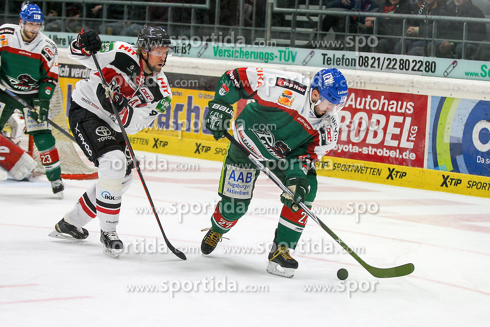12.12.2014, Curt Fenzel Stadion, Augsburg, GER, DEL, Augsburger Panther vs Koelner Haie, 26. Runde, im Bild l-r: im Zweikampf, Aktion, mit Daniel Tjaernqvist #34 (Koelner Haie) und Ivan Ciernik #27 (Augsburger Panther) // during Germans DEL Icehockey League 26th round match between Augsburger Panther vs Koelner Haie at the Curt Fenzel Stadion in Augsburg, Germany on 2014/12/12. EXPA Pictures © 2014, PhotoCredit: EXPA/ Eibner-Pressefoto/ Kolbert<br /> <br /> *****ATTENTION - OUT of GER*****
